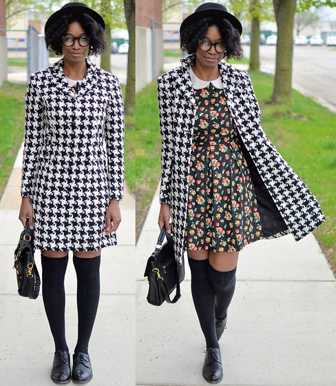 Sushanna M. - Thrifted Vintage Houndstooth Coat, Thrifted Apple Pattern Dress, Black Satchel, Thrifted Vintage Men's Cap Toe Oxfords - Extra Ordinary