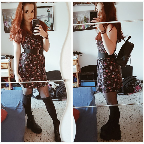 Luc S. - Blanco Floral Dress, Calzedonia Knee Socks, Blanco Belt, Primark Mini Backpack, Yeves Martín Chunky Boots - Mad love.