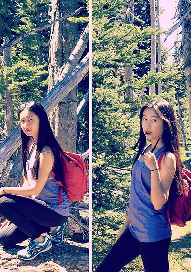 Jade Zhu - Fjallraven Kanken Bagpack, Under Armour 2 In 1 Top With Sport Bra, Under Armour Sport Pant, Salomon Hiking Shoes, Urban Outfitters Sunglasses - In the Woods