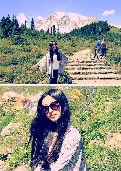 Jade Zhu - Garage Clothing Cape, Uniqlo White Bra Top, Urban Outfitters Sunglasses, Under Armour Pant - Mt. Rainier