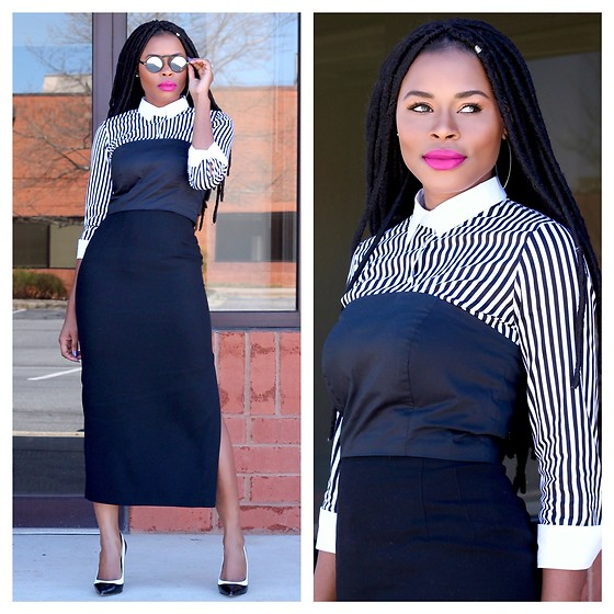 TOMGFASHION COM - Black Pencil Skirt, Striped Shirt, Black And White Pump, Sunglasses - How to style a striped shirt