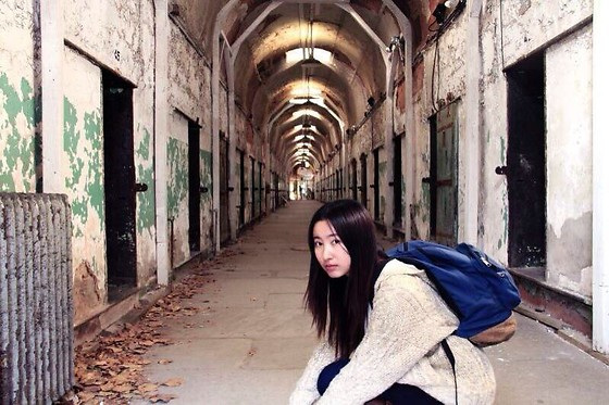 Jade Zhu - Urban Outfitters Sweater Coat, Jansport Backpack - Philadelphia Prison