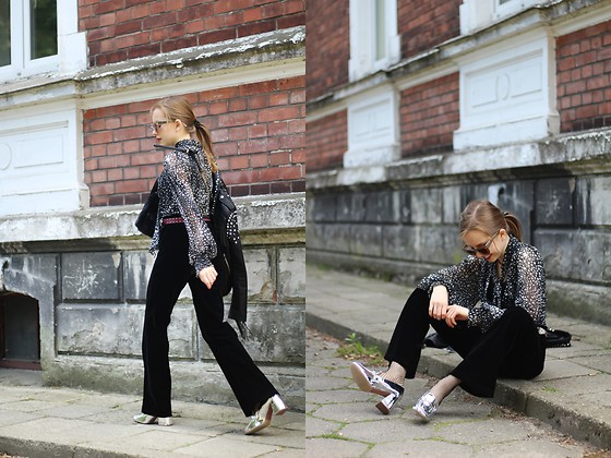 Emilia Matuszko - Stradivarius Metallic Shoes, Second Hand Black Flared Jeans, Second Hand Starry Shirt, Zara Black Jacket With Fringes&Studs - Stars are among us