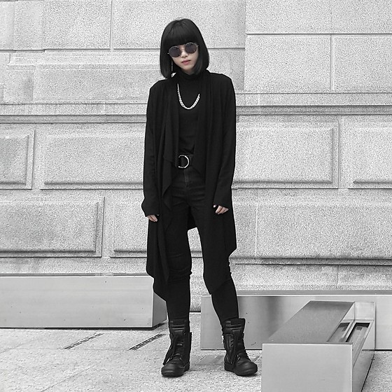 Michelle K - Rick Owens Geobasket Sneakers, Drape Cardigan, Asos Black High Waisted Skinny Jeans - Absence Of Light