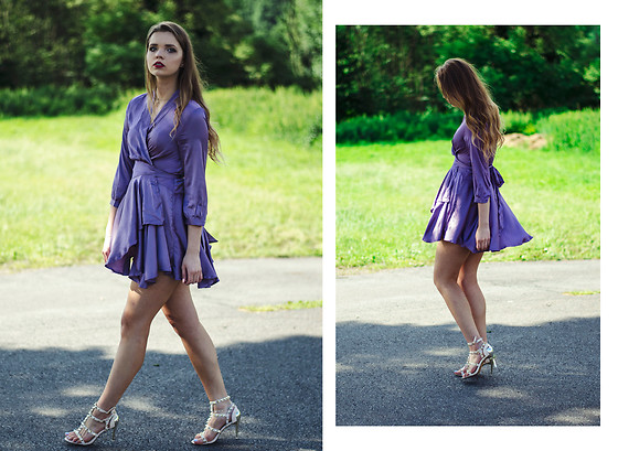 Marcela Wlodarczyk - Satin Dress, Sandals - Violet Satin dress
