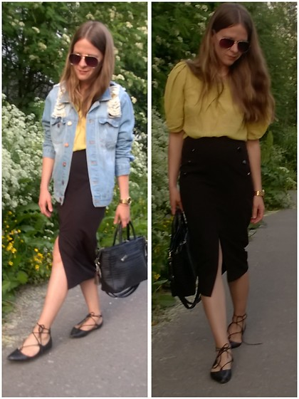 Alla Dolzhenko - Not Label Aviator Sunglasses, Lemon Blouse, Dorothy Perkins Black Skirt, Tulipano Balerina Flat Shoes, Broken Arrows Oversized Hole Denim Jacket, Crocodile Bag, Tissot Watches - Come a lady,come come a lady...