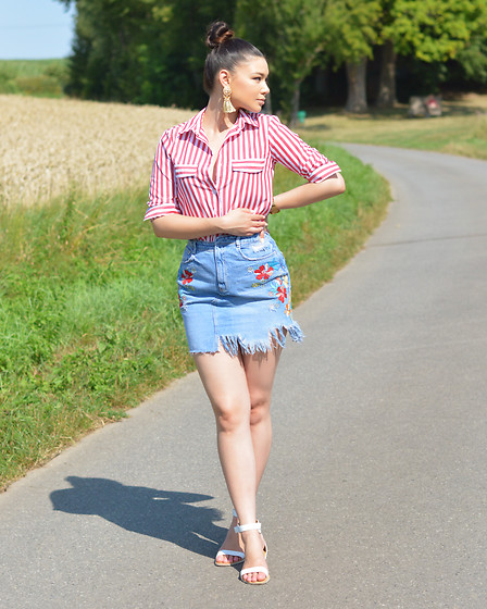 Raspberry Jam - Yoins Red Striped Shirt, Zara Floral Denim Skirt, Gojane Sandals - Floral Denim Skirt with Red Striped Shirt
