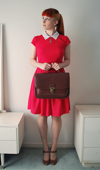 Alphie LaFray - Dangerfield Annie Dress, Brown Satchel, Tony Bianco Mary Jane Heels - Speak softly to me, I see life in rosy hues