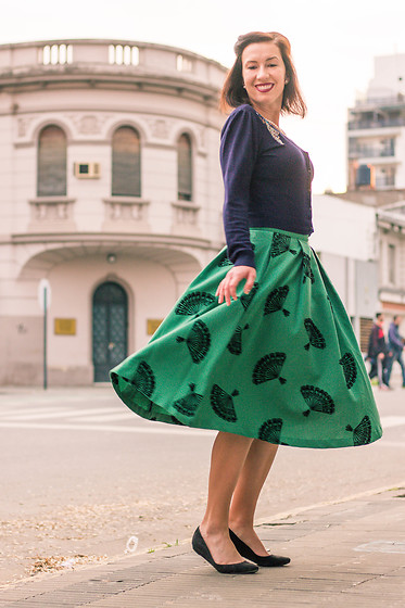 Lindsey Puls - Tatyana Boutique Midi Skirt, Chinese Laundry Wedges, Modcloth Cropped Cardigan - Dear Fan Skirt, We Meet Again