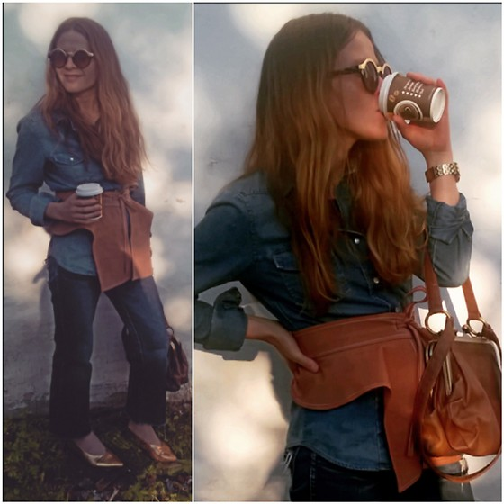 Alla Dolzhenko - Terranova Denim Shirt, Handmade Leather Belt, Wrangler Vintagejeans Cutting By Me, H&M Gold Kitten Heels, Vintage Bag, Sinsay Round Sunglasses - Ice coffee