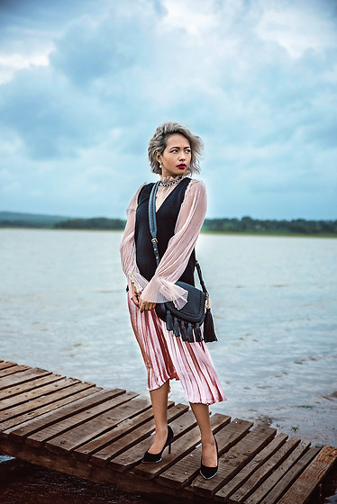 Nilu Yuleena Thapa - Chic Wish Sheen Pleated Skirt In Rose Gold, Michael Kors Moroccan Leather Messenger Bag, Chic Wish Nude Mesh Top - Down by the River