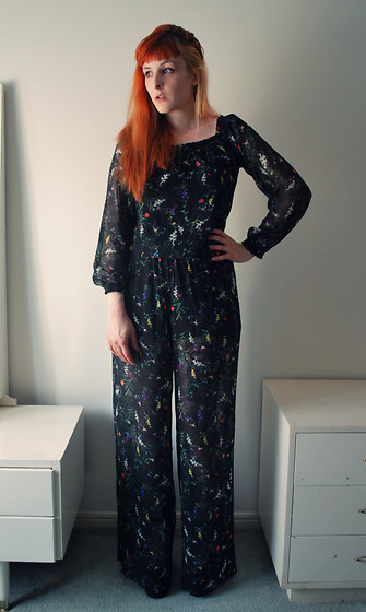 Alphie LaFray - H&M Sheer Floral Jumpsuit, Cause The Pants Are Long Platform Heels - Fear and desire feed the tired