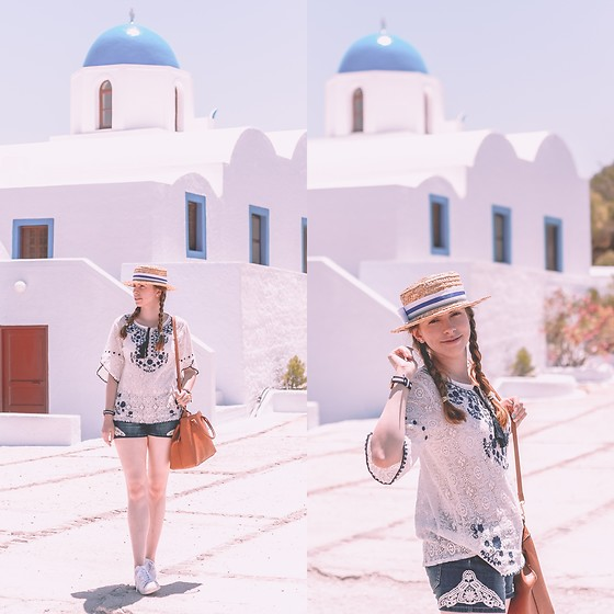 Ana B - Fandacsia Hat, Traditional Romanian Blouse, Stradivarius Bag, Adidas Stan Smith Shoes, Daniel Wellington Watch - Santorini Blue