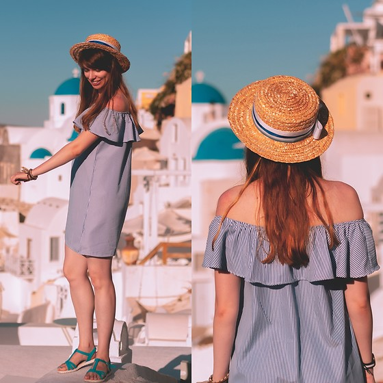Ana B - Fandacsia Hat, Etic Dress, Marelbo Sandals - The Santorini Hat