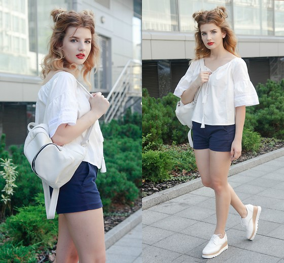 Vlada Kozachyshche - Zaful Blouse, Bershka Shorts, Sofab Dress Shoes, Slavno Backpack - Back 2 School