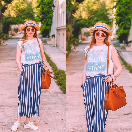 Ana B - Fandacsia Boater Hat, Stradivarius Bag, Mango Wide Pants, Daniel Wellington Watch, Adidas Stan Smith Shoes - Follow Your Dreams