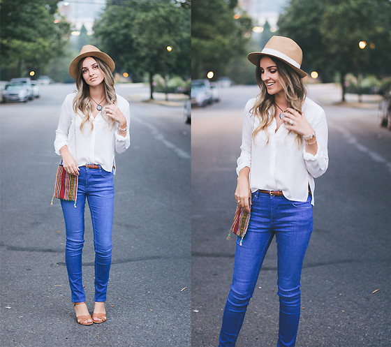 Kassy D - H&M Fedora, Dynamite Top, Soorty World Of Denim Jeans - Twilight
