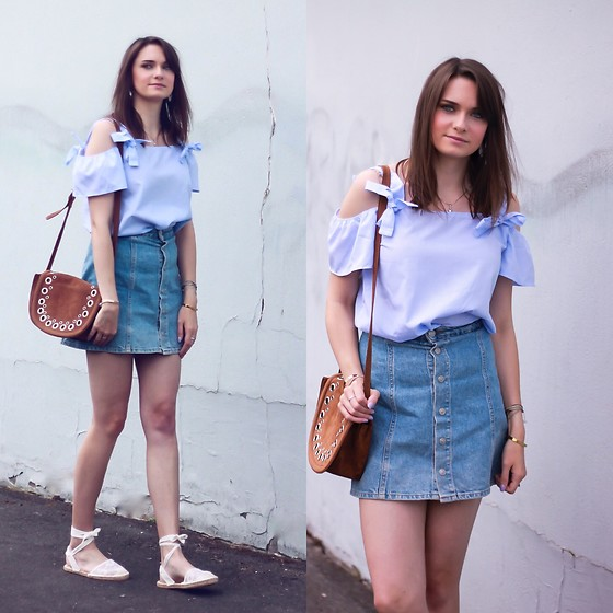 Audrey - Rosegal Top, Pull & Bear Skirt, Primark Shoes, Jennyfer Bag - Shades of blue