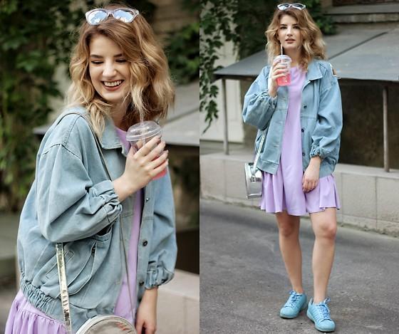 Vlada Kozachyshche - Zaful Jacker, Modnakasta Dress, Adidas Sneakers, Bershka Bag, Rue21 Sunglasses - Pastel colors + metallic