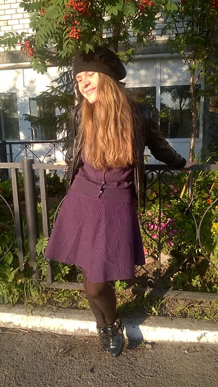 Alla Dolzhenko - O'stin Baret, H&M Leather Jacket, Inwear Violet Cardigan, Incity Skirt, Sinsay Boots - Tender September
