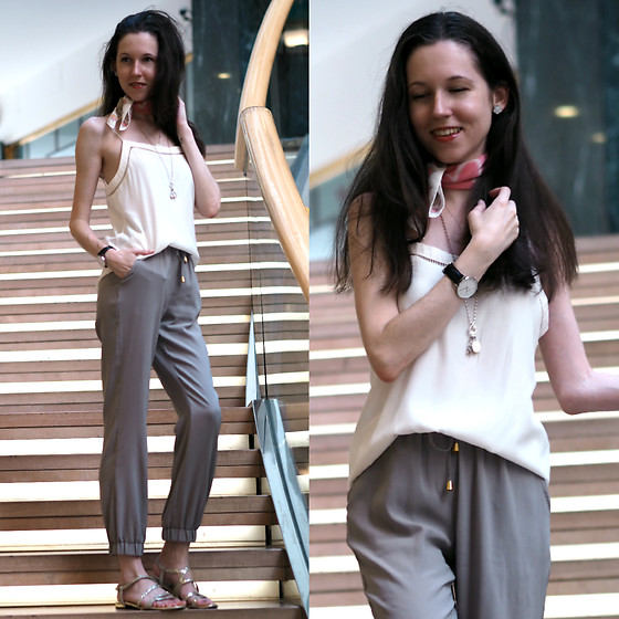 Claire H - Mango Camisole, Daniel Wellington Watch, Liebeskind Berlin Silk Pants, Moschino Scarf - Comfy and cozy