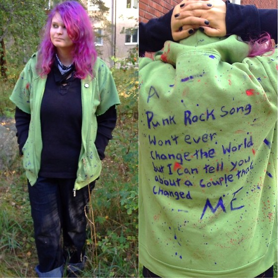 "M Aniara - H&M Black Shirt, Bastini Green Hoodie, ? Black Jeans - ""A punk rock song won't ever change the world.."""