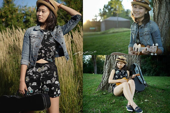 L Z - Zara Printed Playsuit, Urban Outfitters Pork Pie Hat, Denim Jacket, Cole Haan Boat Shoes - Me & My Uke