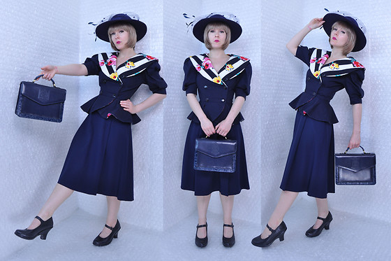 Suzi West - Georgi Vintage Hat, Rene Of Paris Wig, Choon 1980s Blouse, Thrift Store Uniform Skirt, Belle Rose Briefcase Bag, Born Concepts Mary Jane Heels - 25 July 2017