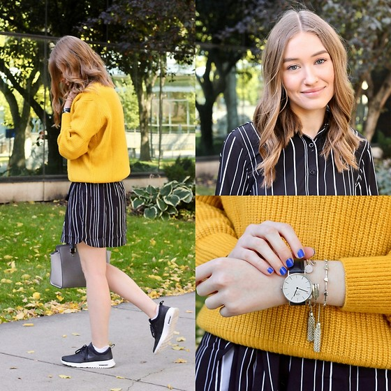 Taylor Doucette - Daniel Wellington Black Watch, H&M Mustard Yellow Knit Sweater, Nike Air Max Thea Leather Sneakers, Michael Kors Selma Purse - Find You - Nick Jonas