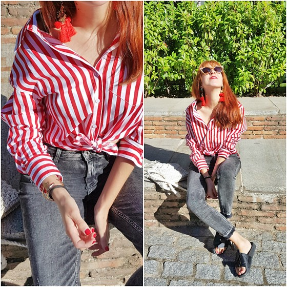 Mi Vida En Rojo - Zaful Shirt, Zaful Pom Pom Earrings, Zara Jeans, Zara Shoes - RED stripes Look