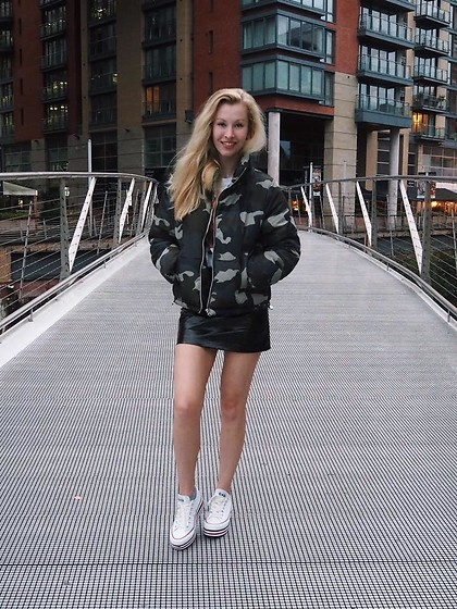 Bec Oakes - H&M Puffer Jacket, H&M Faux Leather Skirt, Converse Platform Trainers - Menagerie