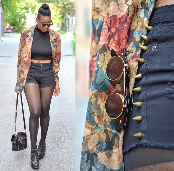 Sushanna M. - Zerouv Gold Gilded Flip Sunglasses, Thrifted Vintage Floral Blazer, Forever 21 Spiked High Waisted Shorts, Thrifted Black Platform Ankle Boots - Unexplained Phenomenon