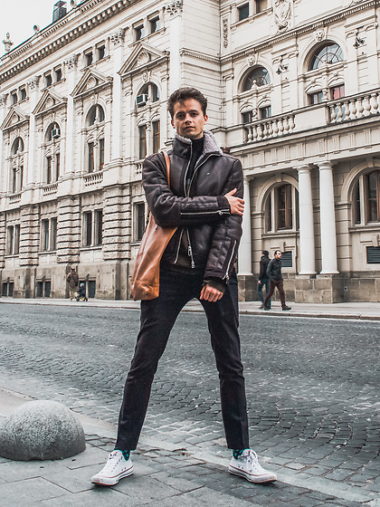 Anton Dee - Giorgio Armani Bomber Jacket, Forbes & Lewis Messenger Bag, Topman Suit Trousers, Converse Shoes - Exploring Ukraine
