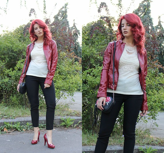Vlada Kozachyshche - Fashionmia Shirt, Jennyfer Jacket, Mango Pants, Rue21 Bag, Marks & Spencer Heels, Stradivarius Earrings - Red and Casual