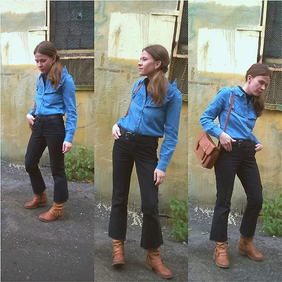 Alla Dolzhenko - Sinsay Blue Blouse With Ruffles, Lindex Black Top, Lindex Brown Bag, Leather Belt, Dorothy Perkins Black Jeans, Reiker Brown Boots - Spooky girl & her ruffles