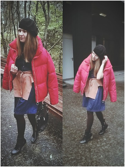 "Alla Dolzhenko - Ostin Baret, Incity Jeans Dress, Hand Made Leather Belt, ""Crocodile"" Bag, Topshop Black Boots With Golden Heels, Pull&Bear Red Puffer Jacket - Baret"