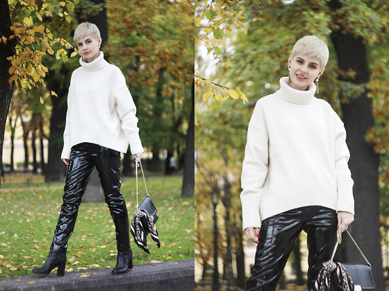 Anastasia Zaprometova - H&M Sweater, H&M Pants, Topshop Bags - Leather pants and cozy sweater