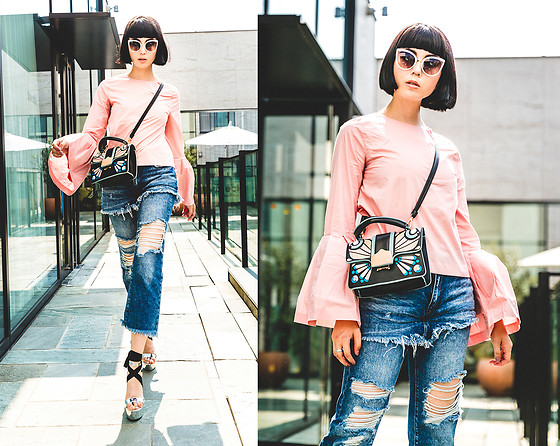 Samantha Mariko - Style Mafia Blouse, Zara Jeans, Julia Kays Bag, Zerouv Sunglasses, Public Desire Shoes - Like a butterfly