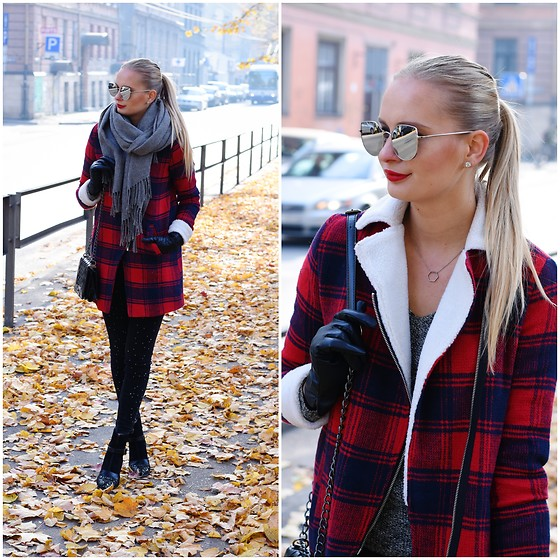 Madara L - Stradivarius Jeans With Pearls, H&M Leather Gloves, Cat Eye Sunglasses, Sammydress Plaid Coat - The plaid coat