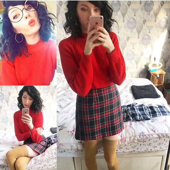 Coral Baker - Primark Green Tartan Skirt, H&M Red Zip Back Jumper, H&M Mustard Over The Knee Socks - Red and Plaid