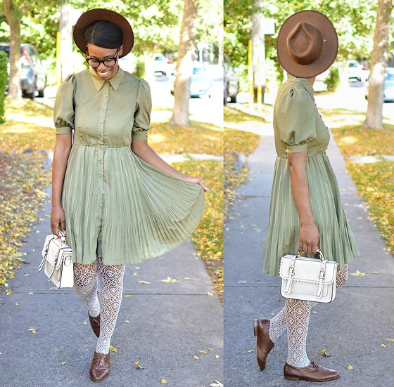 Sushanna M. - Olive Pleated Shirt Dress, White Buckled Scalloped Satchel, Ivory Webbed Tights, Thrifted Vintage Men's Brown Wingtip Oxfords - Indian Summer