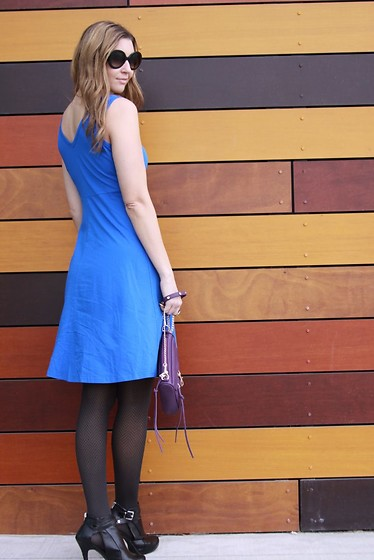 Cindy Batchelor - Amaze Blue Flare Dress $18 - Chic Blue Flare Dress, Black Tights, and Booties