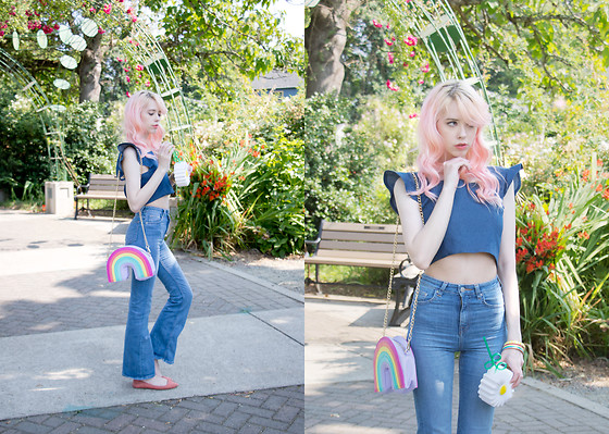 Kailey Flyte - Unique Vintage Denim Top, H&M Flare Jeans, Skinnydip London Rainbow Purse, Urban Outfitters Daisy Cup, Little Arrow Bangles - Lazy Daisy