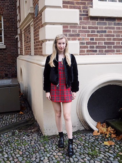 Bec Oakes - Allsaints Faux Fur Jacket, Urban Outfitters Dress, River Island Boots - So Adorably Clueless