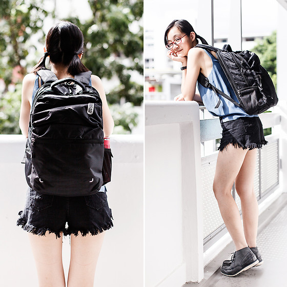 Ren Rong - Firmoo Glasses, American Tourister Backpack, Lenovo Fitness Tracker, Topshop Top, Shein Denim Shorts, Timberland Shoes - American Tourister Backpack