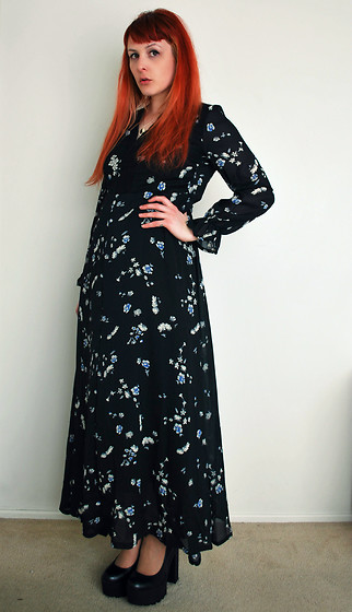 Alphie LaFray - Thrifted Long Floral Dress, Lipstik Shoes Platform Heels - Will you ever learn you're just an empty cage girl