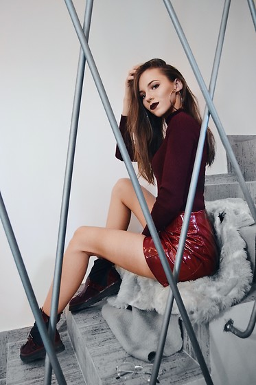 Emma Pavel - Bershka Red Vinyl Skirt, Musette Burgundy Boots - Shades of Burgundy