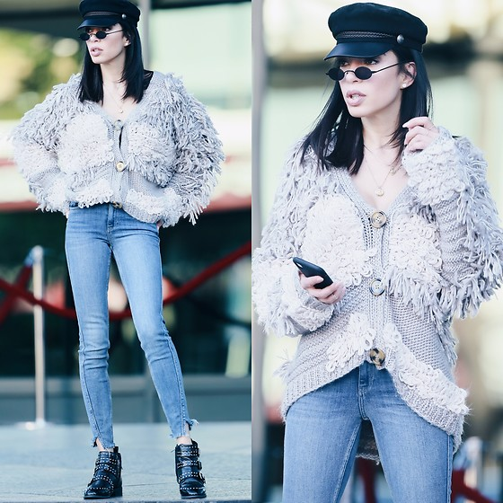 Claudia Salinas - H&M Bakers Boy Hat, River Island Shaggy Oversized Cardigan, River Island Denim Jeans, River Island Studded Buckled Ankle Boots, Robbery & Fraud Micro Sunglasses - 12.11.17