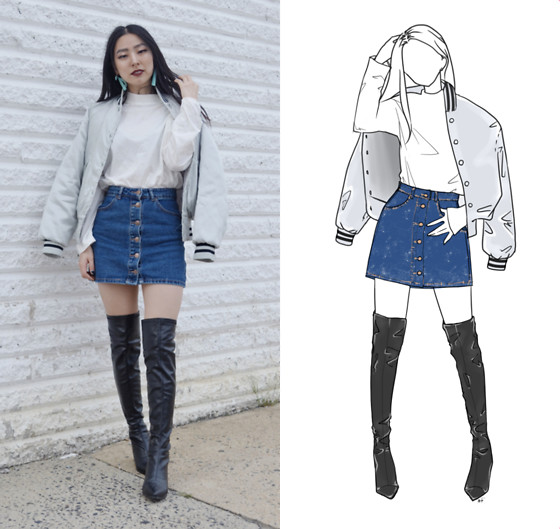 Yonish - Mixxmix Turtleneck Top, Forever21 Denim Mini Skirt, Zaful Black Thigh High Boots - Bomber Girl