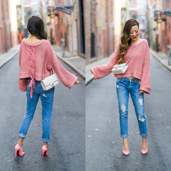 Sasa Zoe - Sweater, Jeans, Earrings, Heels, Bag - THE PRETTIEST LACE UP BACK